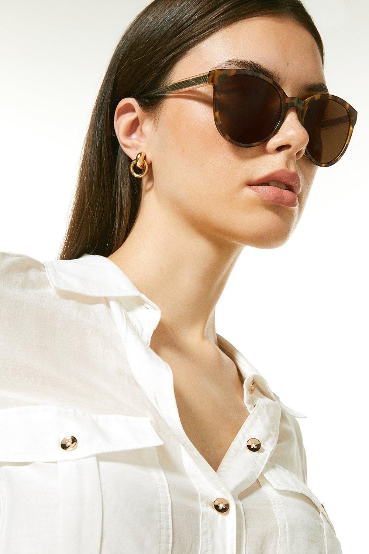 Karen Millen Deep Round Sunglasses With Exposed Core Wire -, Beige