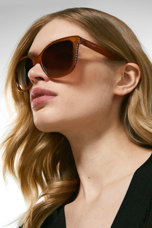 Karen Millen Deep Inland Chain Sunglasses -, Orange