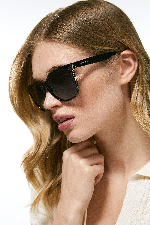 Karen Millen Deep Inland Chain Sunglasses -, Black