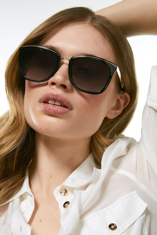 Karen Millen Metal Bridge And Brow Detail Sunglasses -, Black