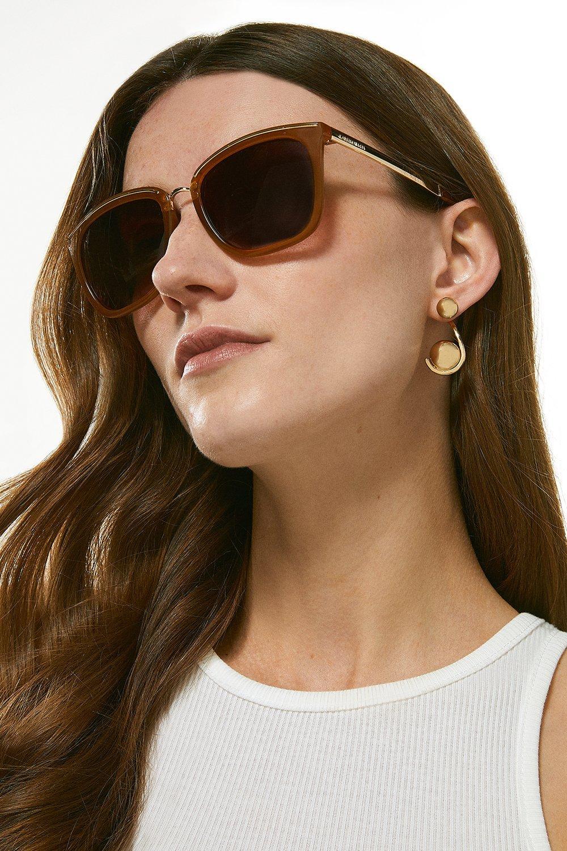 Karen Millen Metal Bridge And Brow Detail Sunglasses -, Orange