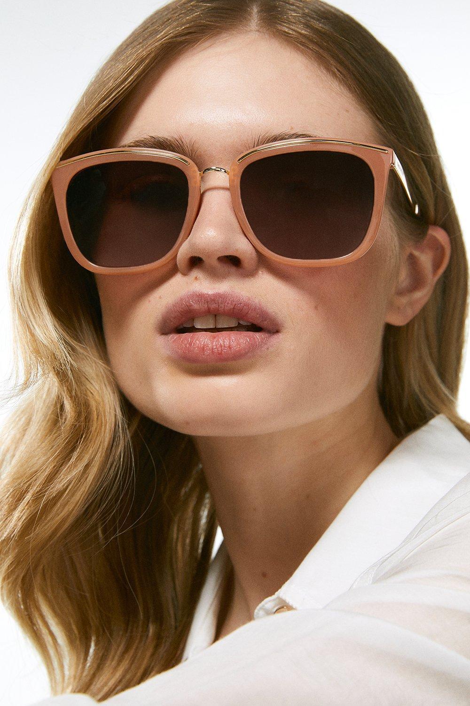Karen Millen Metal Bridge And Brow Detail Sunglasses -, Navy
