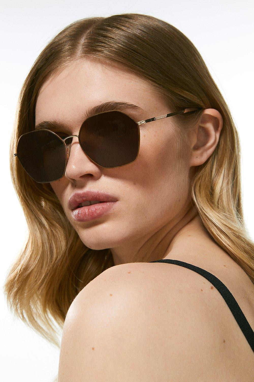 Karen Millen Soft Hexagonal Slim Sunglasses -, Golden Blonde