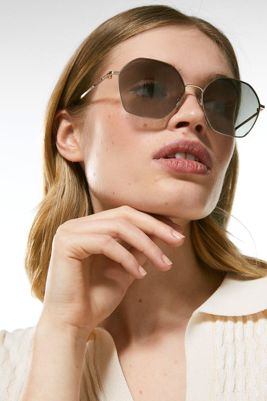 Karen Millen Soft Hexagonal Slim Sunglasses -, Golden Brown