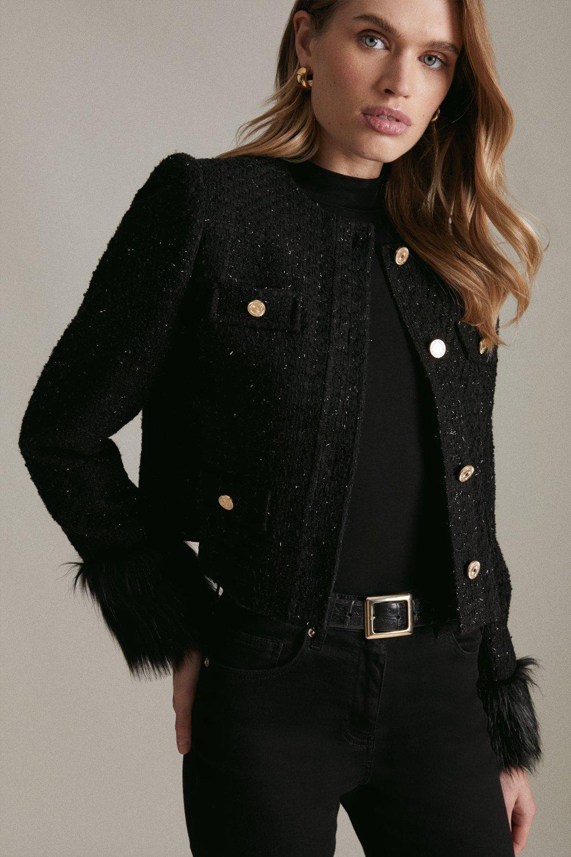 Karen Millen Sparkle Tweed And Faux Fur Cuff Jacket -, Black