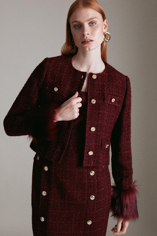 Karen Millen Sparkle Tweed And Faux Fur Cuff Jacket -, Red