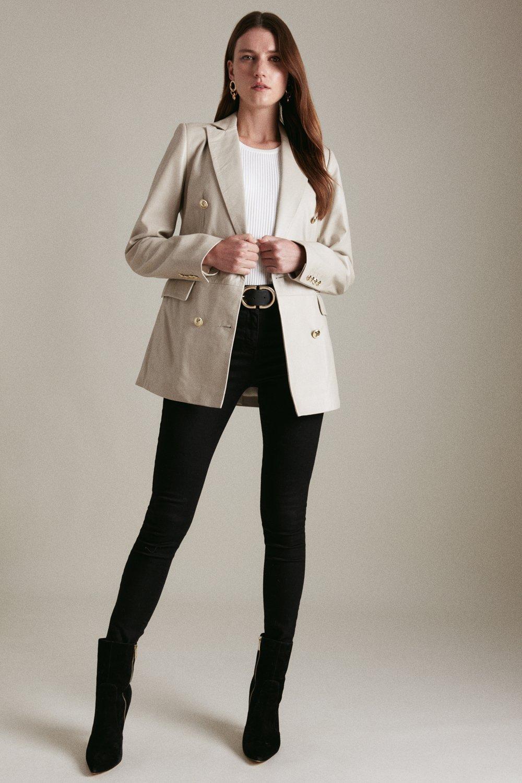 Karen Millen Leather Military Db Longline Blazer -, Cream