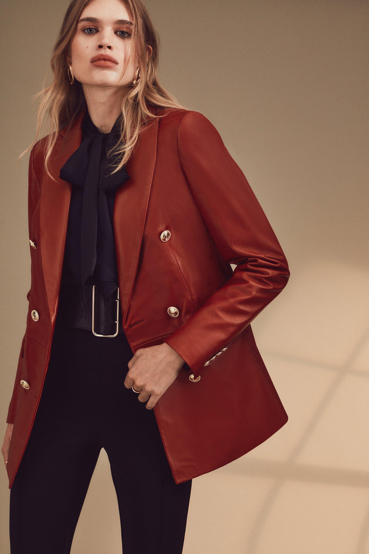 Karen Millen Leather Military Db Longline Blazer -, Red