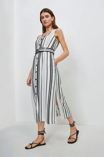 White Stripe Linen Blend Button Through Dress