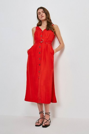 Red Linen Blend Button Through Dress