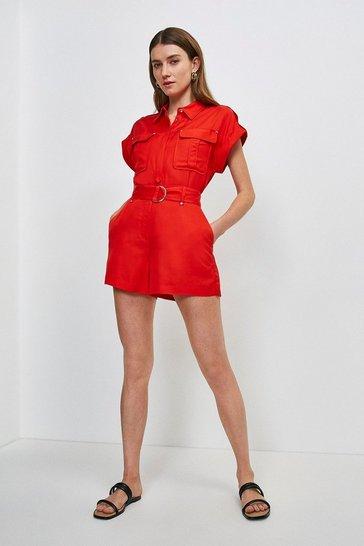 Red Linen Blend Short