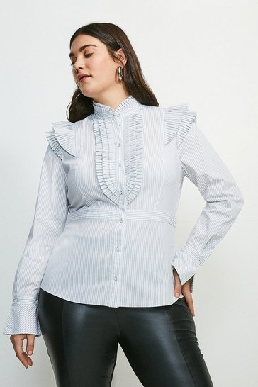 Mono Curve Pleat Ruffle Stripe Shirt