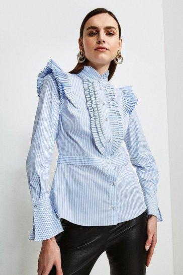Blue Pleat Ruffle Stripe Shirt