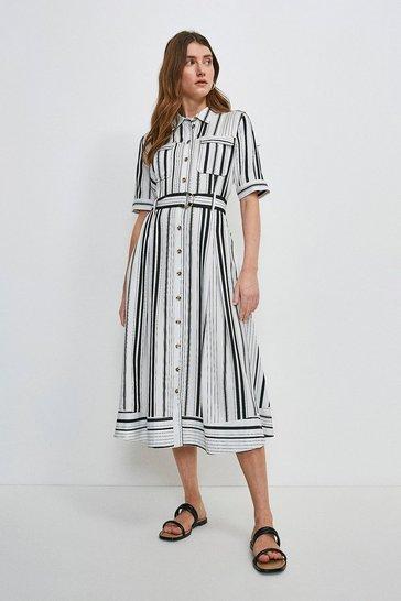 White Stripe Linen Blend Shirt Dress
