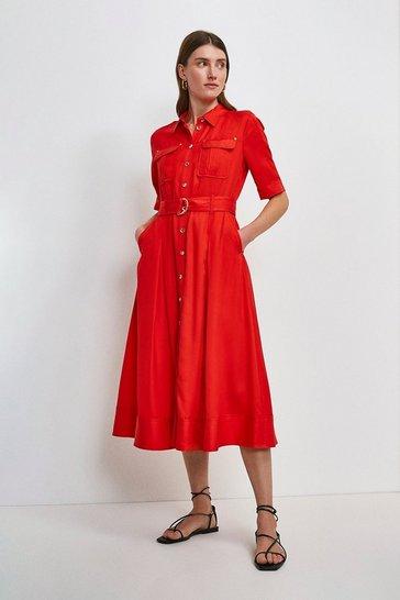 Red Linen Blend Shirt Dress