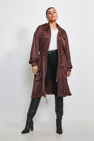 Chocolate Curve Luxe Crepe Satin Trench Coat