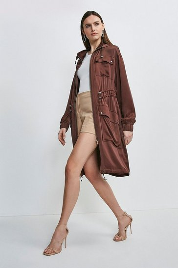 Chocolate Luxe Crepe Satin Trench Coat