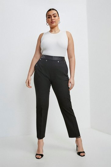 Black Curve Compact Stretch Popper Straight Leg Trousers