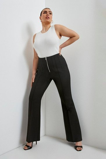 Black Curve Compact Stretch Zip Front Wide Trousers