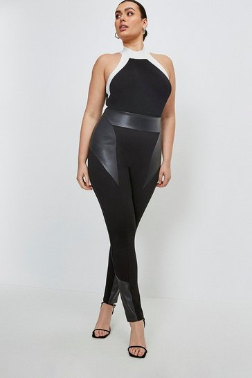 Black Curve Leather Ponte Panelled Leggings