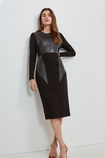 Black Faux Leather Ponte Panelled Dress