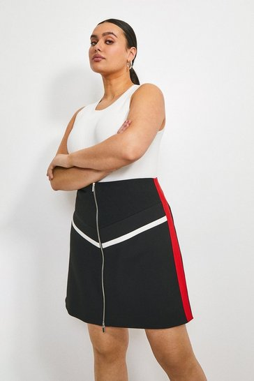 Multi Curve Compact Stretch Zip Panelled Skirt