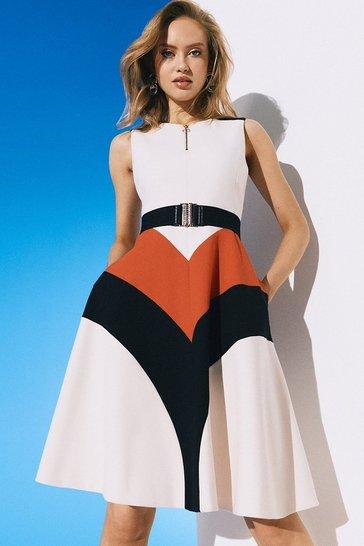 Multi Compact Stretch Colour Block Midi Dress