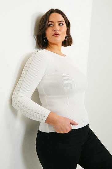 Ivory Curve Sparkle Trim Sleeve Knitted Rib Top
