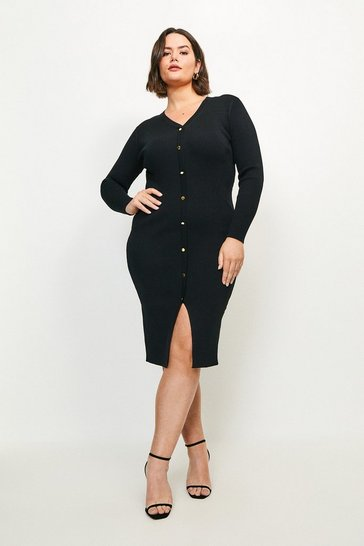 Black Curve Button Detail Knitted Rib Dress