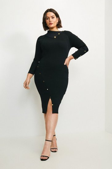 Black Curve Button Detailed Envelope Neck Knitted Dress