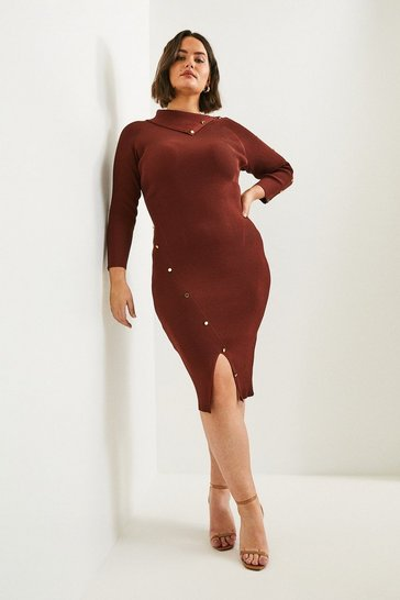 Rust Curve Button Detailed Envelope Neck Knitted Dress