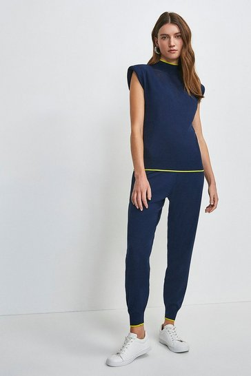 Navy Pointelle Knitted Top