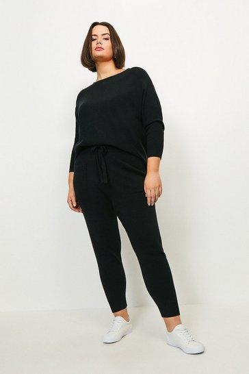 Black Curve Knit Soft Yarn Cuffed Jogger