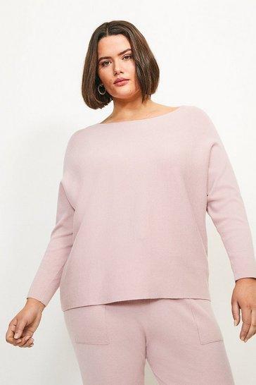 Pink Curve Long Sleeve Soft Yarn Jumper