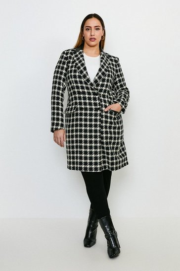 Mono Curve Houndstooth PU Collar Coat