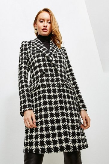 Mono Houndstooth PU Collar Coat