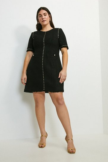 Black Curve Boucle Stud Trim Dress