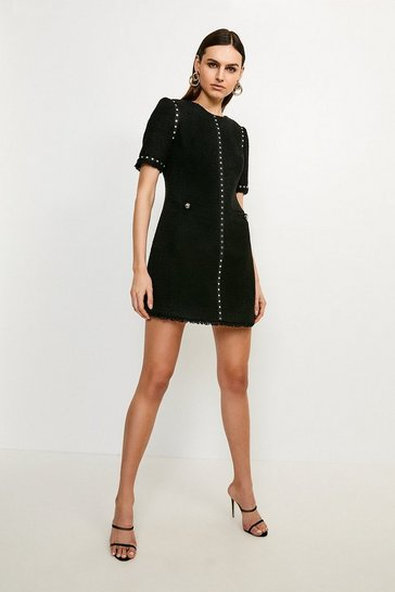 Black Boucle Stud Trim Dress