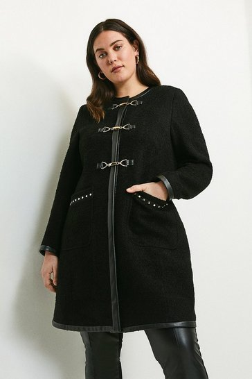 Black Curve Boucle Stud Trim Coat
