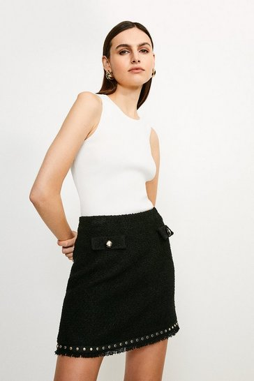 Black Boucle Stud Trim Mini Skirt
