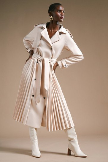 Natural Soft Pleat Detail Trench