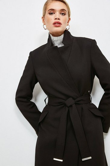 Black Compact Stretch Notch Neck Belted Coat