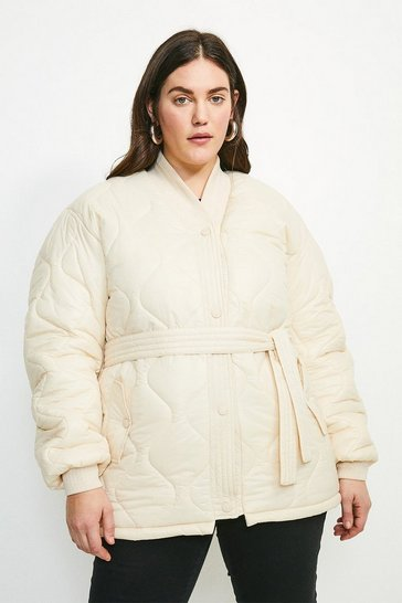 Cream Curve V Neck Belted Quilted Jacket