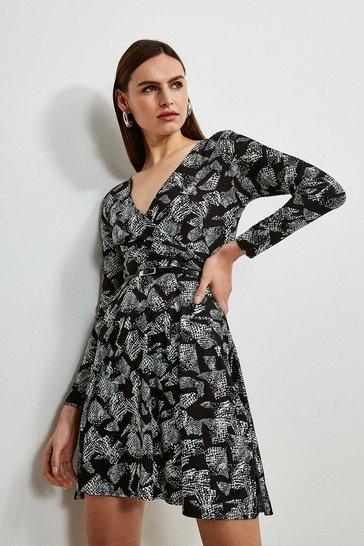 Animal Jersey Belted Wrap Dress