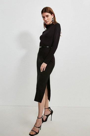 Black Jersey Belted Drape Midi Dress