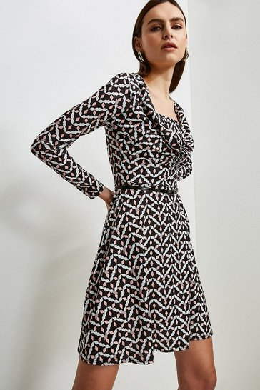 Geo Jersey Cowl Layered Belted Dress