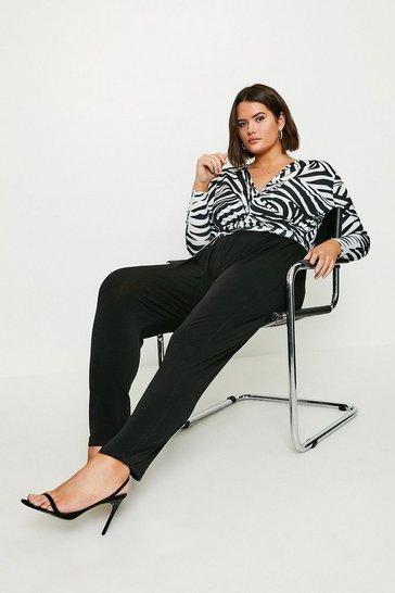 Black Curve Zebra Wrap Jersey Jumpsuit