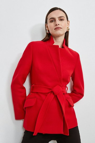 Red Investment Notch Neck Short Coat