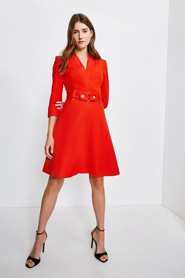 Red Forever Cinch Waist A-Line Dress