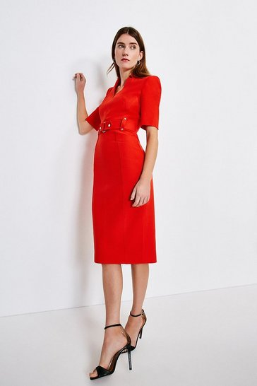 Red Forever Cinch Waist Pencil Dress
